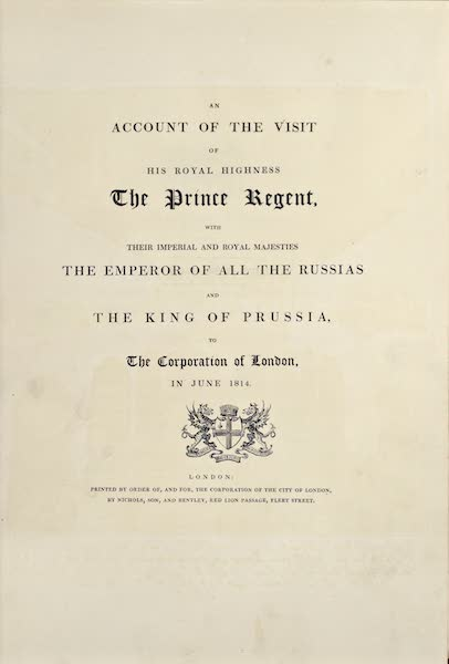 An Account of the Visit of His Royal Highness the Prince Regent - Title Page (1815)