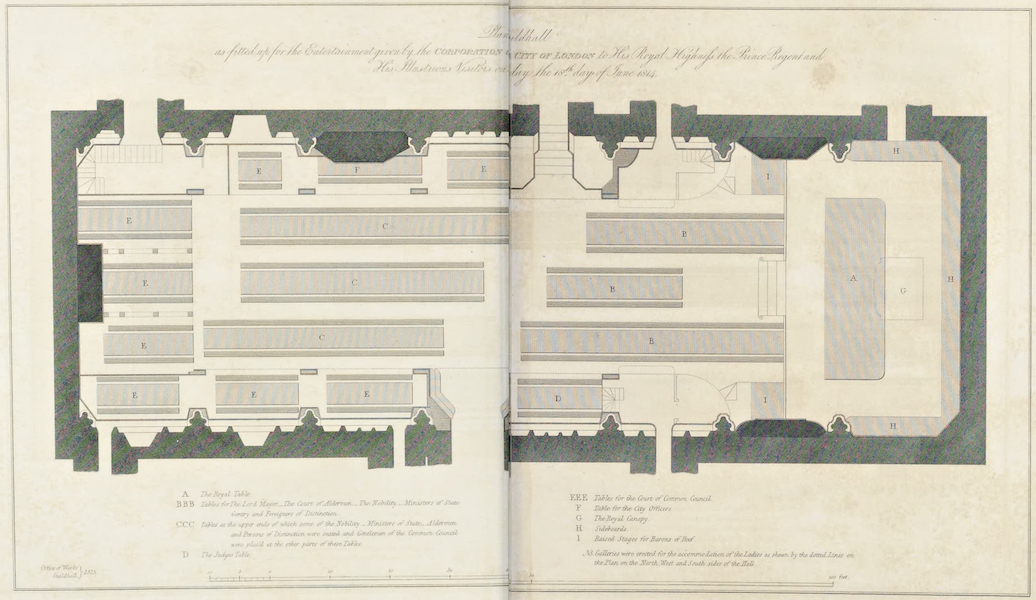An Account of the Visit of His Royal Highness the Prince Regent - Plan of Guildhall (1815)