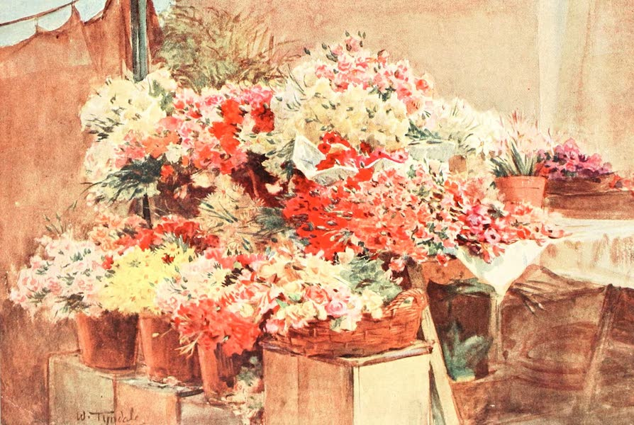 An Artist in the Riviera - Flower Stall in Mentone Market (1915)