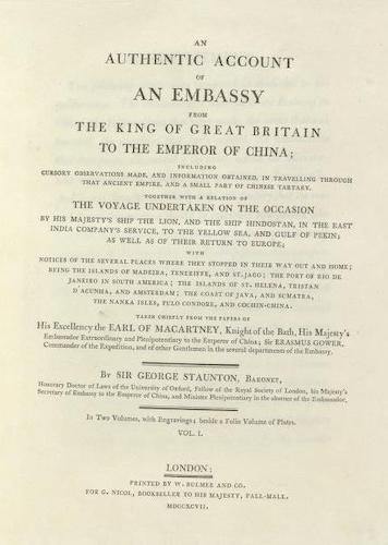 English - An Authentic Account of an Embassy from Great Britain to China Vol. 1