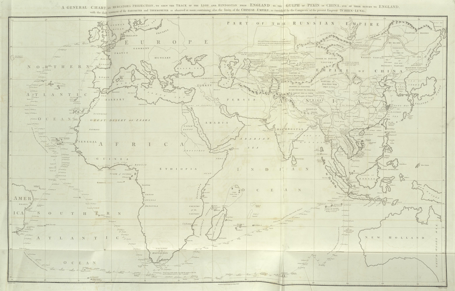 An Authentic Account of an Embassy from the King of Great Britain to the Emperor of China [Vol. 3: Plates] - A general chart, on Mercator's projection, of the track of the ships (1797)