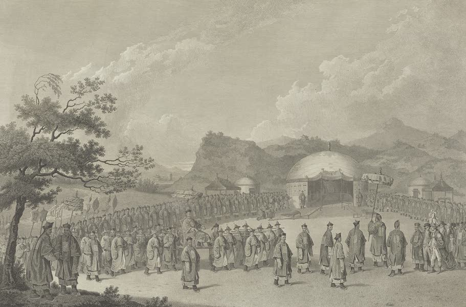 An Authentic Account of an Embassy from the King of Great Britain to the Emperor of China [Vol. 3: Plates] - The approach of the Emperor of China to his tent in Tartary (1797)