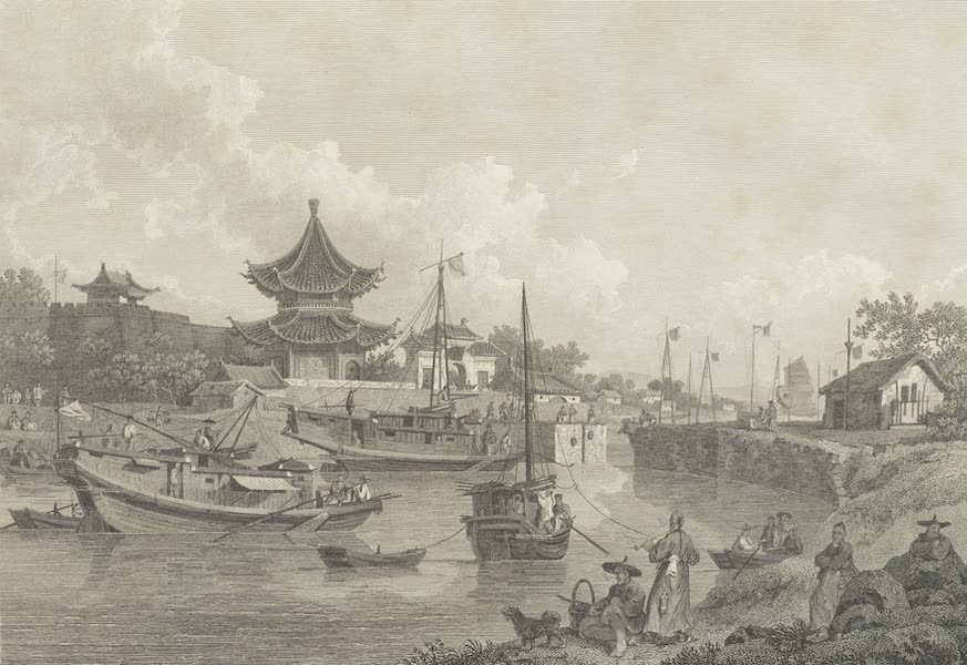 An Authentic Account of an Embassy from the King of Great Britain to the Emperor of China [Vol. 3: Plates] - Chinese barges of the Embassy passing through a sluice, or floodgate on the grand canal (1797)