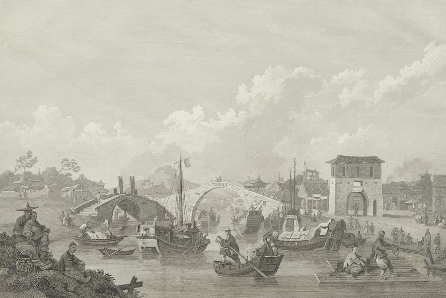 An Authentic Account of an Embassy from the King of Great Britain to the Emperor of China [Vol. 3: Plates] - Chinese barges of the Embassy preparing to pass under a bridge (1797)