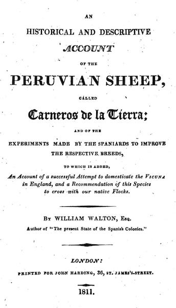 An Historical and Descriptive Account of the Peruvian Sheep - Title Page (1811)