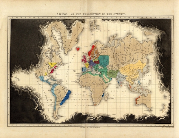An Historical Atlas - A.D. 1660. At The Restoration Of The Stuarts. (1830)