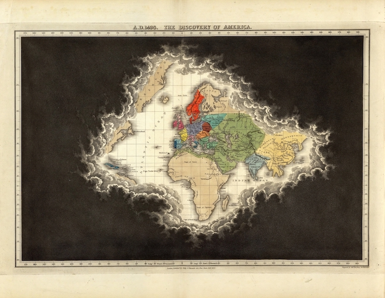 An Historical Atlas - A.D. 1498. The Discovery Of America. (1830)