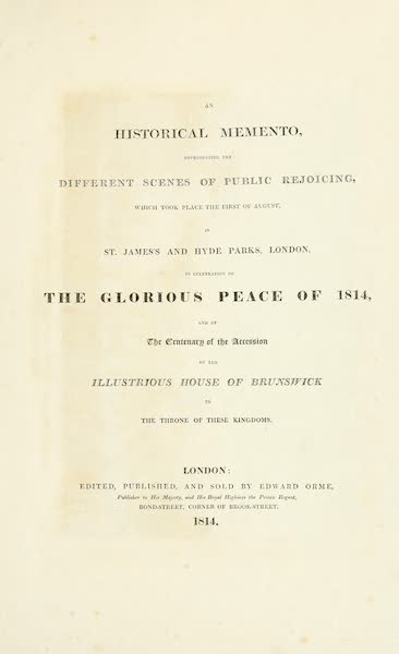 An Historical Memento Representing the Glorious Peace of 1814 - Title Page (1814)