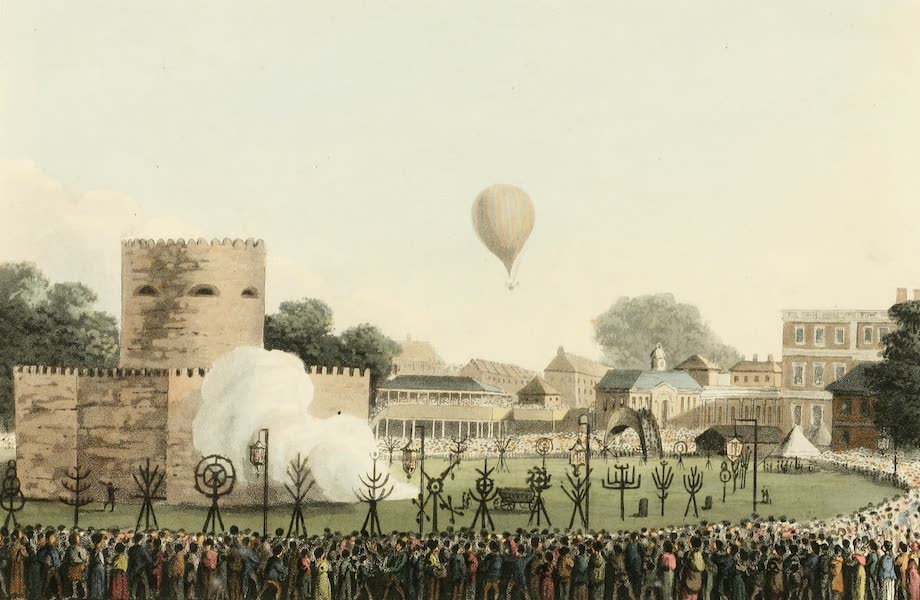 An Historical Memento Representing the Glorious Peace of 1814 - The Tower and Preparation of the Fire Works with the Balloon (1814)