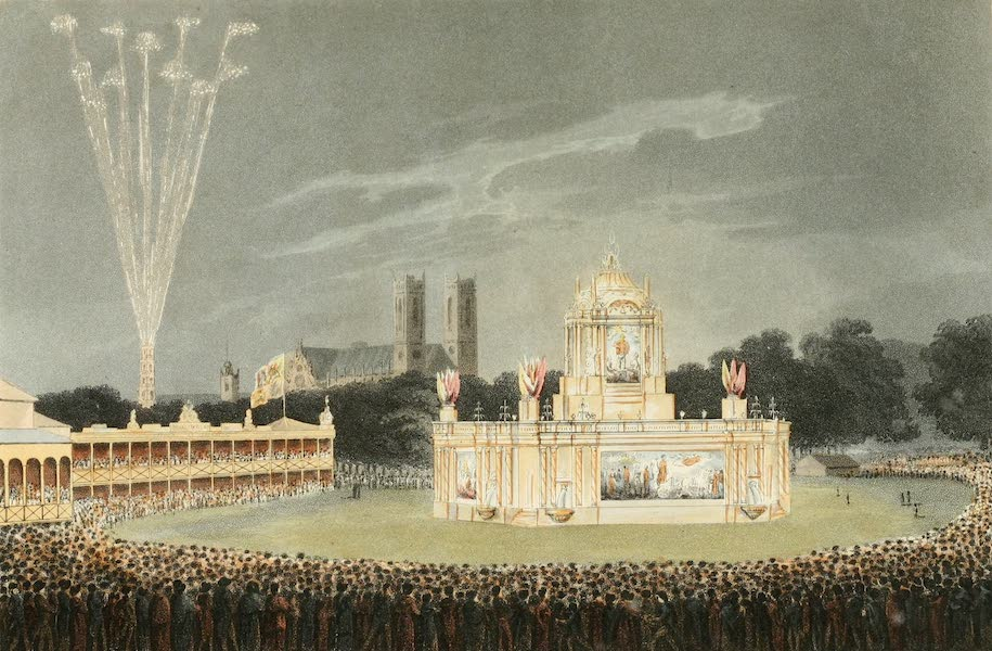 An Historical Memento Representing the Glorious Peace of 1814 - The Revolving Temple of Concord Illuminated - Erected in the Park in celebration of the Glorious Peace of 1814 (1814)