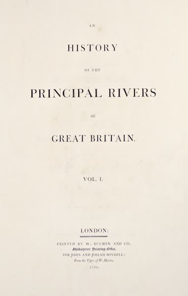 An History of the Principal Rivers of Great Britain Vol. 1 - Title Page (1794)