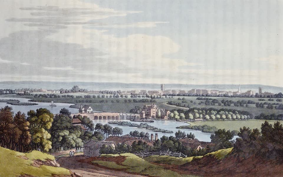 An History of the Principal Rivers of Great Britain Vol. 1 - View of Reading from Caversham (1794)