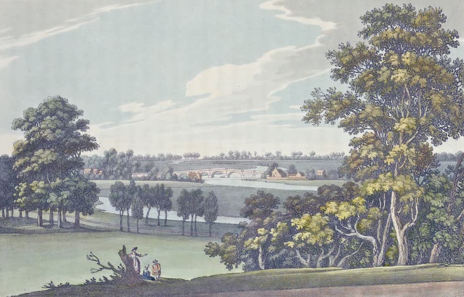 An History of the Principal Rivers of Great Britain Vol. 1 - View of Chertsey Bridge, from Wooburn Farm (1794)
