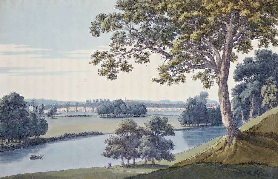 An History of the Principal Rivers of Great Britain Vol. 1 - View of Walton Bridge, from Oatlands (1794)