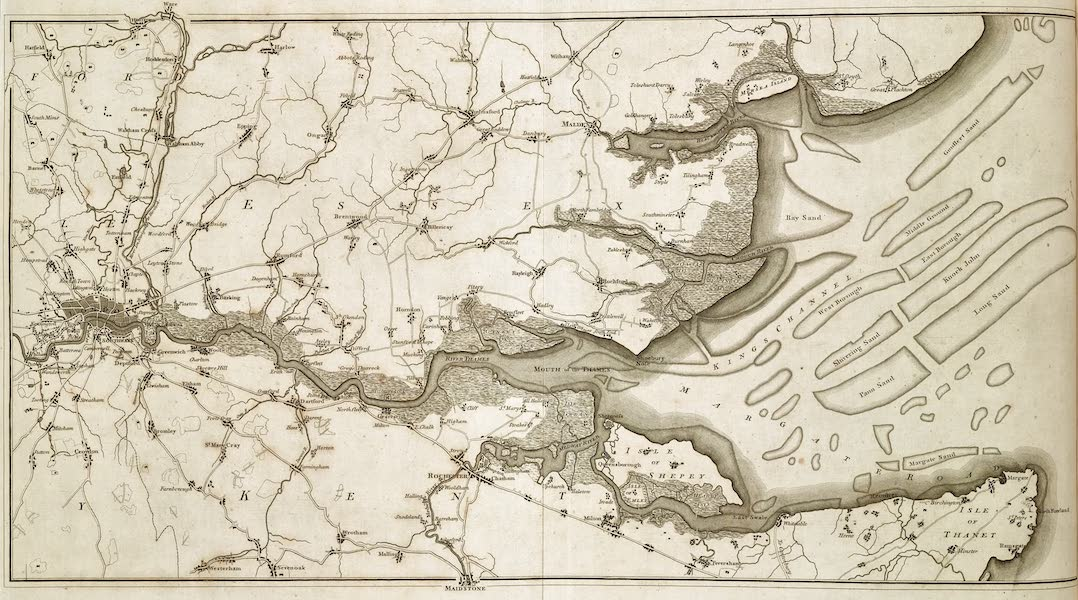 An History of the Principal Rivers of Great Britain Vol. 2 - Map of the Thames (1794)