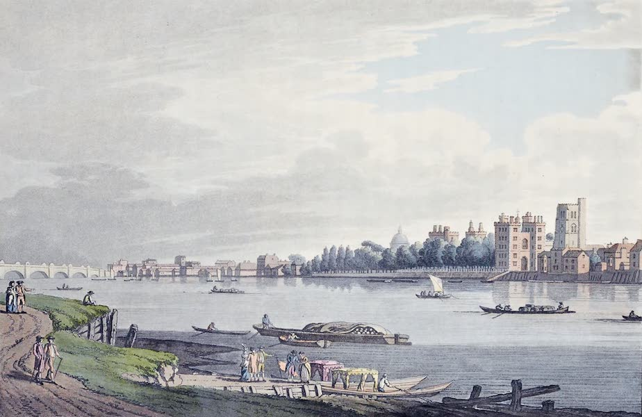 An History of the Principal Rivers of Great Britain Vol. 2 - View of Lambeth from Milbank (1794)