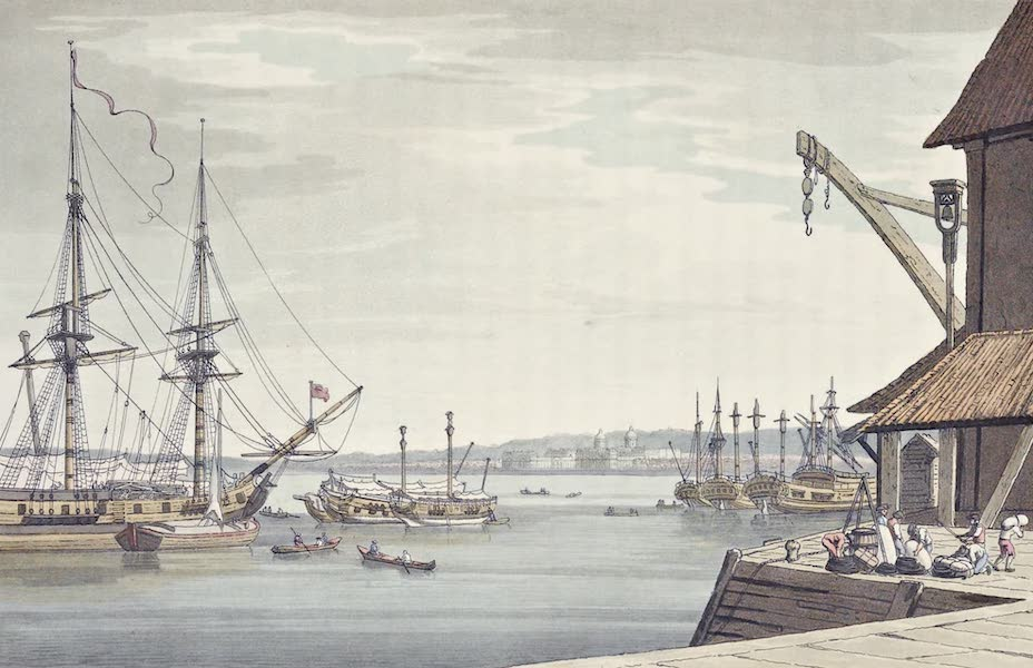 An History of the Principal Rivers of Great Britain Vol. 2 - View of Greenwich from Deptford Yard (1794)