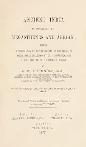 Ancient India as Described by Megasthenes and Arrian (1877)