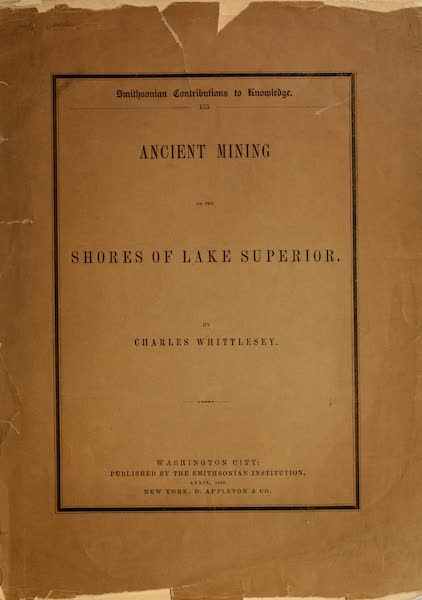 Ancient Mining on the Shores of Lake Superior - Front Cover (1863)