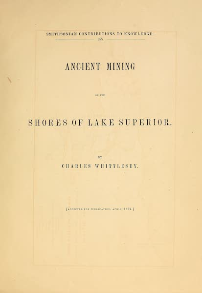 Ancient Mining on the Shores of Lake Superior - Title Page (1863)