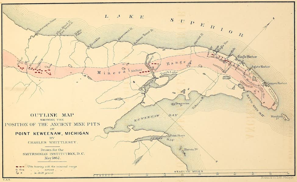 Ancient Mining on the Shores of Lake Superior - Outline Map Showing he Position of the Ancient Mine Pits of Keweenaw Point (1863)