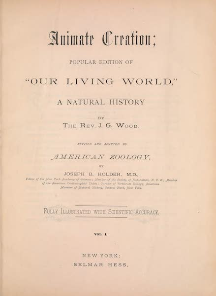 Animate Creation Vol. 1 - Title Page (1885)