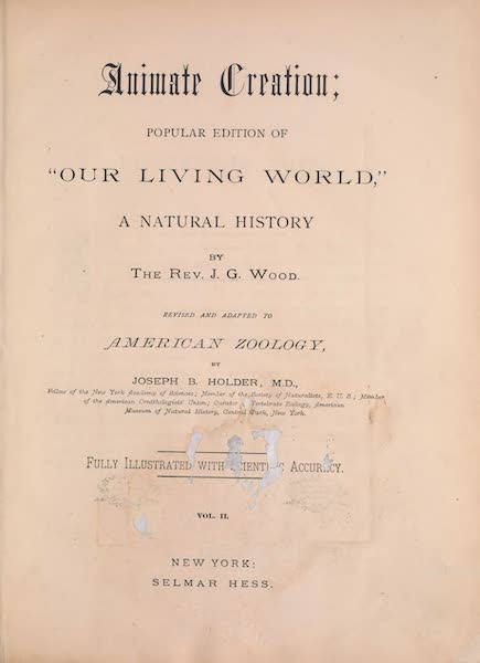 Animate Creation Vol. 2 - Title Page (1885)