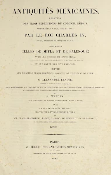 Antiquites Mexicaines - Title Page - Tome I (1844)