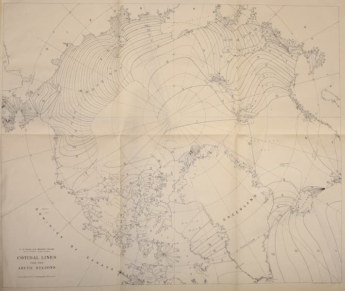 Arctic Tides - Cotidal Lines for the Arctic Regions (1911)
