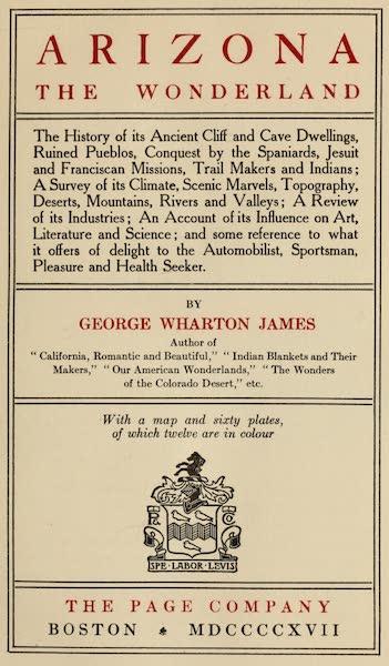 Arizona, The Wonderland - Title Page (1917)