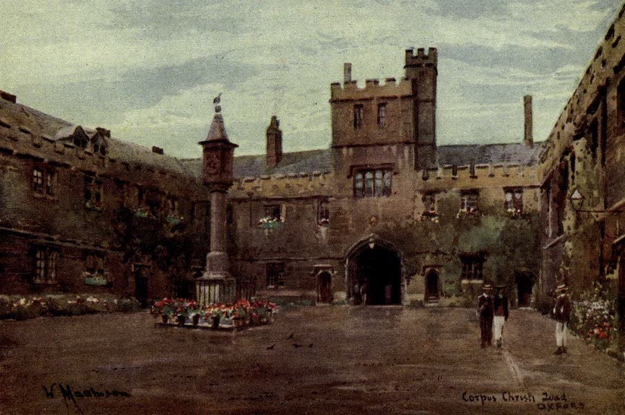 Artistic Colored Views of Oxford - Corpus Christi Quad, Oxford (1900)