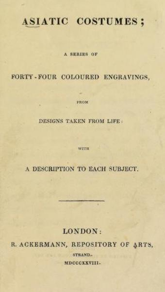 Asiatic Costumes - Title Page (1828)