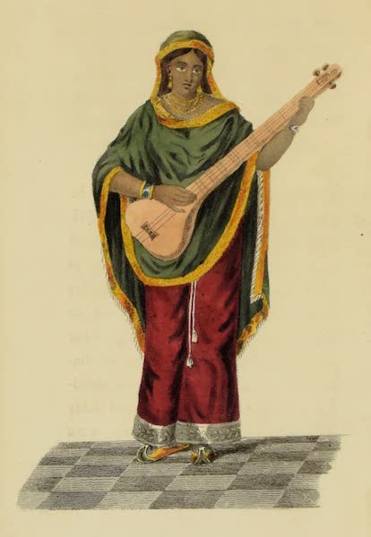 Asiatic Costumes - A Female playing on the Tumboora (1828)