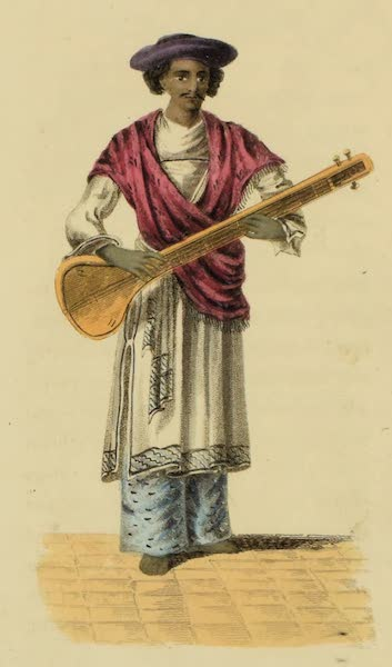 Asiatic Costumes - Musician playing on the Tumboora (1828)