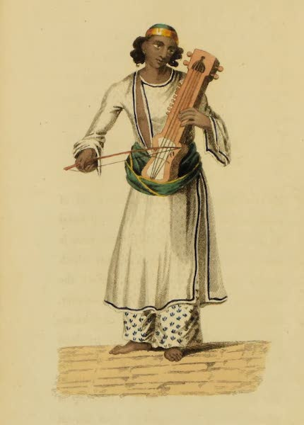 Asiatic Costumes - Musician, playing on the Saringee (1828)