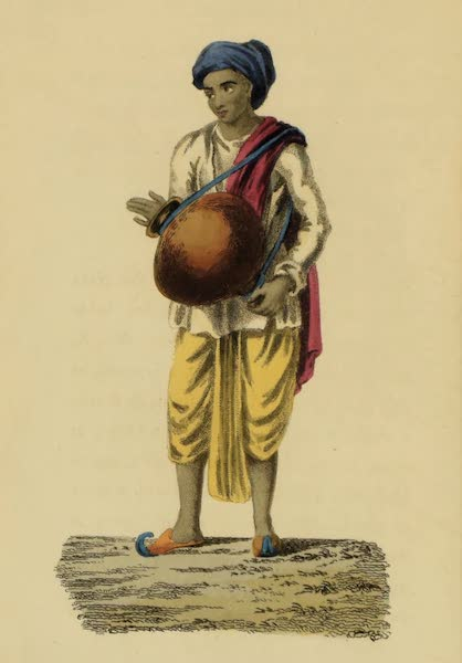Asiatic Costumes - Musician, with a Khole or Drum (1828)