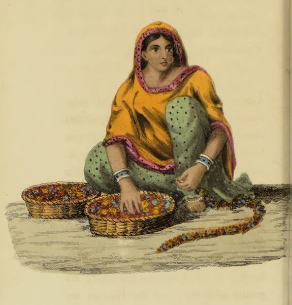 Asiatic Costumes - A Girl stringing Flowers for Wreaths (1828)