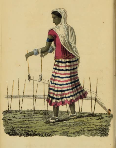 Asiatic Costumes - Woman preparing Thread for the Loom (1828)