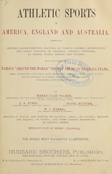 Athletic Sports in America, England and Australia - Title Page (1889)