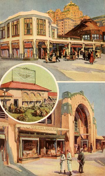 Atlantic City, the World's Play Ground - Above - Brighton Shops | Below - Traymore Shops | In Circle - Nation Exhibit of Crosby and Elkin's Electrical Appliances (1922)