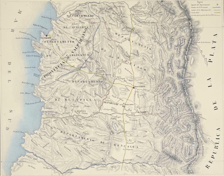 Atlas de Historia fisica y Politica de Chile Vol. 1 - Provincias de Santiago y de Valparaiso (1854)