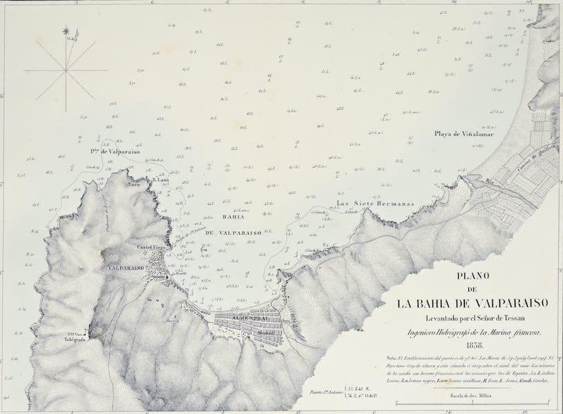 Atlas de Historia fisica y Politica de Chile Vol. 1 - Plano de la Bahia de Valparaiso (1854)