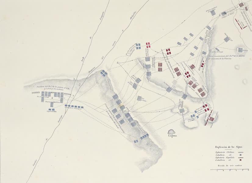 Atlas de Historia fisica y Politica de Chile Vol. 1 - Plano de la Batalla de Maypu (1854)