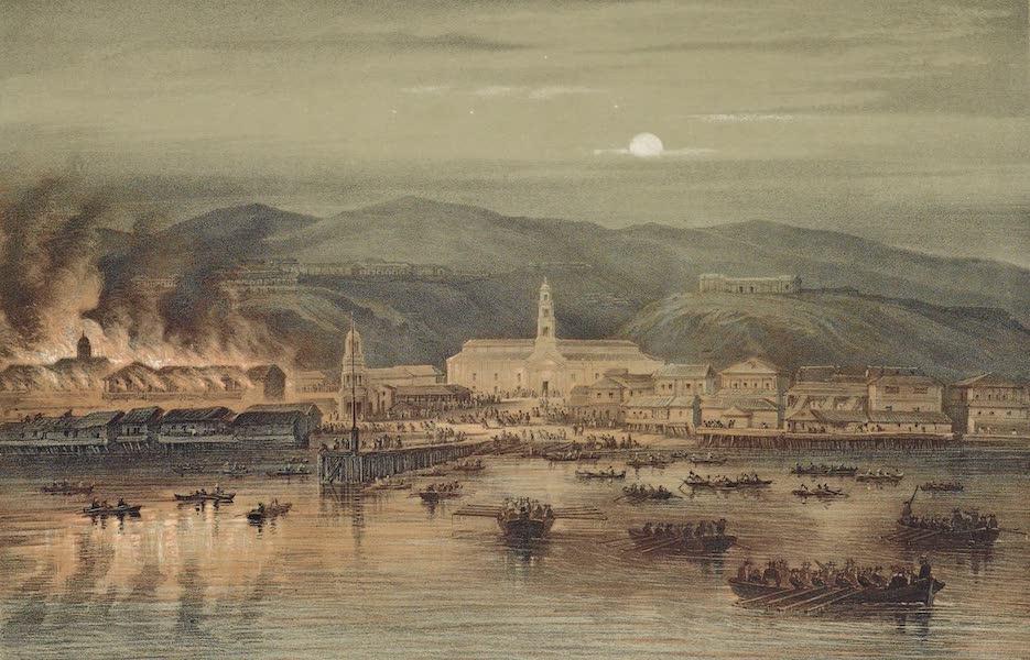Atlas de Historia fisica y Politica de Chile Vol. 1 - Incendio de Valparaiso (15 Marzo, 1843) (1854)