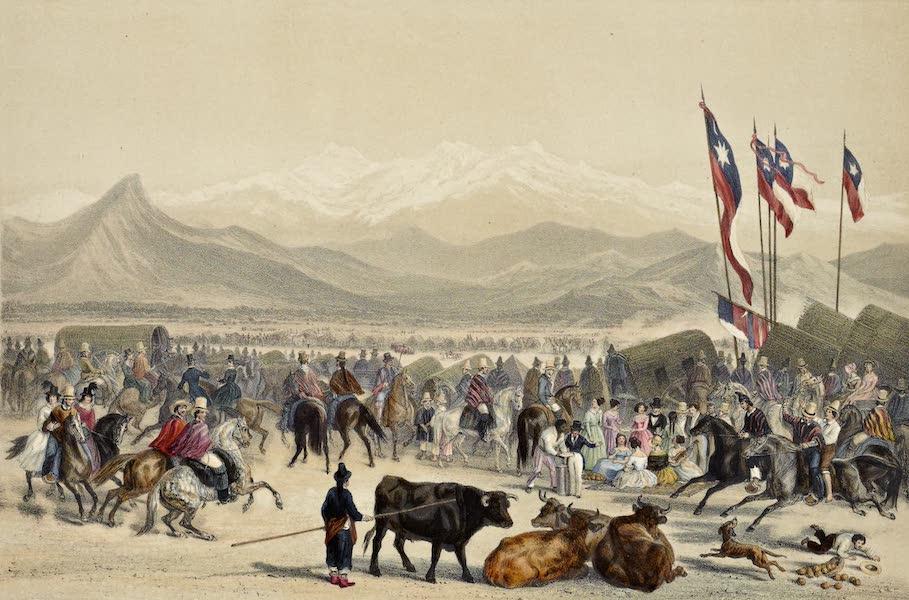 Atlas de Historia fisica y Politica de Chile Vol. 1 - Una Carrera en las Lomas de Santiago (1854)