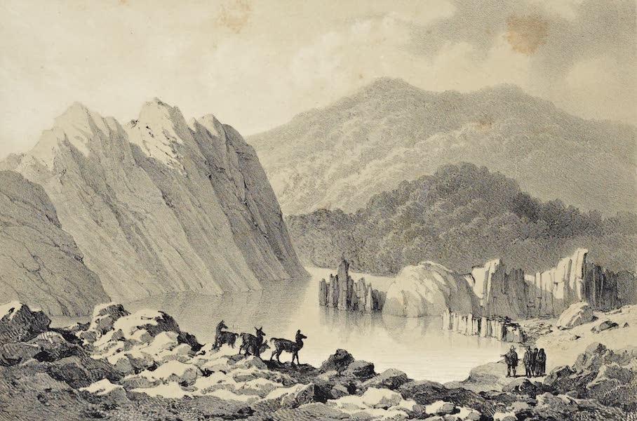 Atlas de Historia fisica y Politica de Chile Vol. 1 - Vista de la Laguna de la Laja en el Nacimiento del Rio (1854)