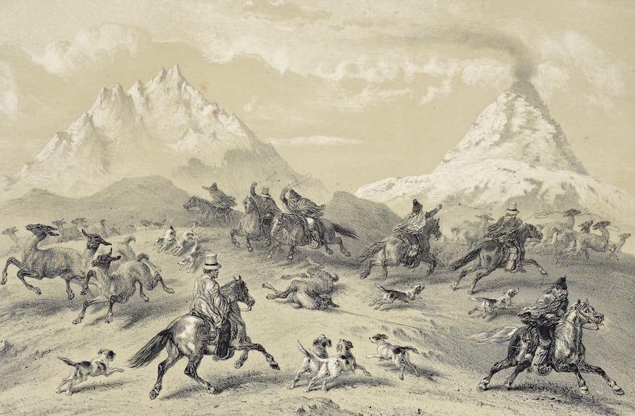 Atlas de Historia fisica y Politica de Chile Vol. 1 - Caza a los Guancos cerca del Volcan d'Antuco (1854)