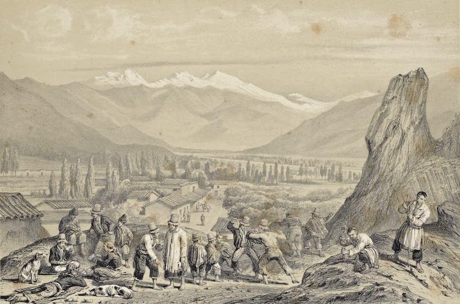 Atlas de Historia fisica y Politica de Chile Vol. 1 - Vista del Valle del Mapocho (Sacada del Cerro de Santa Lucia) (1854)