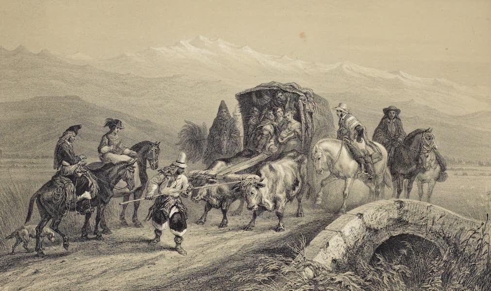 Atlas de Historia fisica y Politica de Chile Vol. 1 - Paseo a los Banos de Colina (Santiago) (1854)