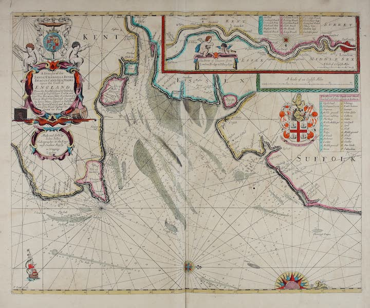 A draught of the sands, channels buoyes beacons and sea marks upon the coast of England -- [Inset] The river of Thames from London Bridge to Tilburyhope
